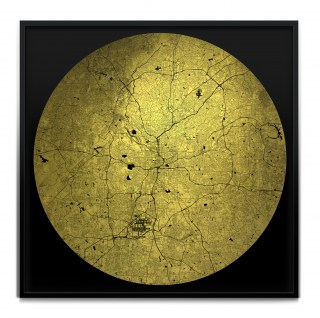 Mappa Mundi Atlanta - Black on 24 carat gold leaf dibond