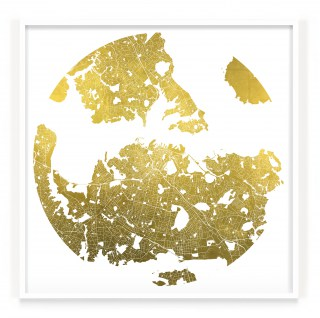 Mappa Mundi Auckland- White UV treated ink on 24 carat gold leaf dibond