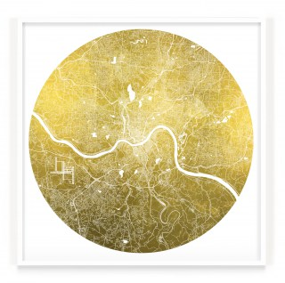 Mappa Mundi Cincinatti - White UV treated ink on 24 carat gold leaf dibond