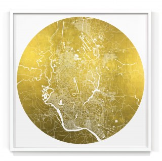 Mappa Mundi Dhaka - White UV treated ink on 24 carat gold leaf