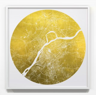 Mappa Mundi Nanjing - White UV treated ink on unlaquered 24 carat gold leaf