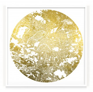 White UV treated ink on 24 Carat Gold leaf